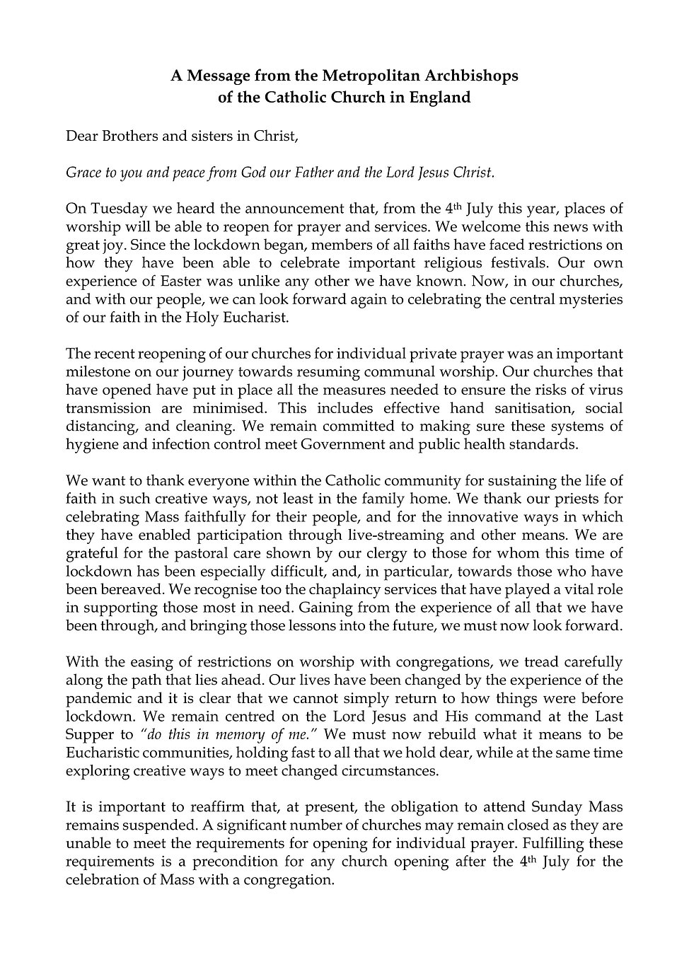 Archbishops' Letter Re-opening of  churc