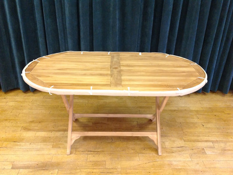 Teak oval folding table