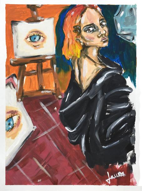 Artist in her art studio
