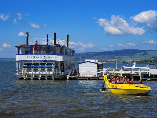 Rotarua Lake, Paddle Steamer and Jet Boat.