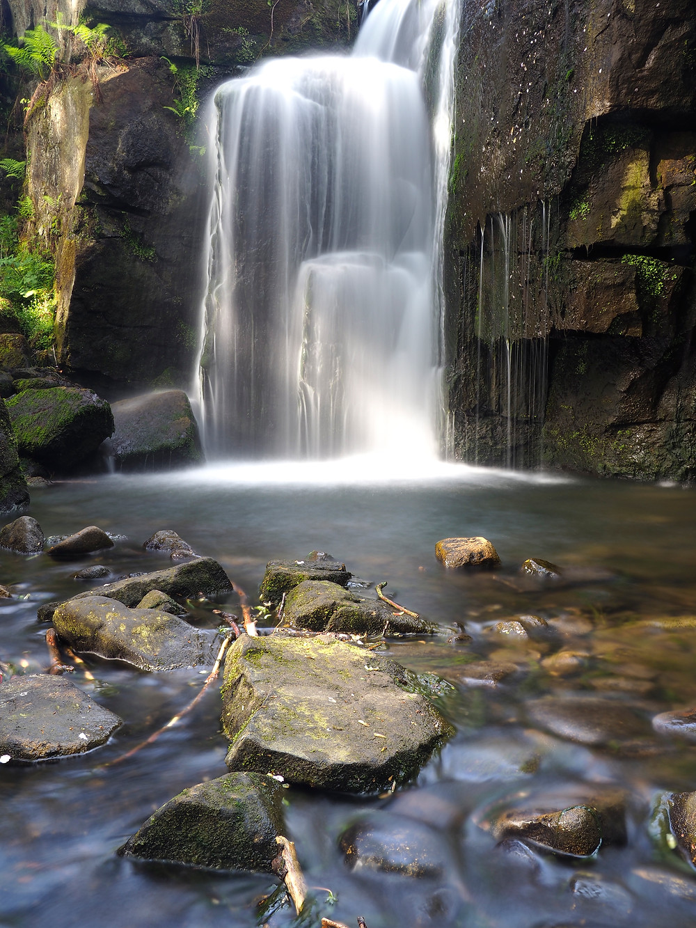 Lumsdale Waterfall catching the late sunshine