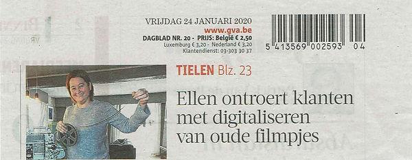 Gazet Van Antwerpen voorpagina 24-1-20.J
