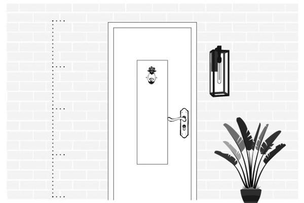 Монтаж светильника с одной стороны входной двери