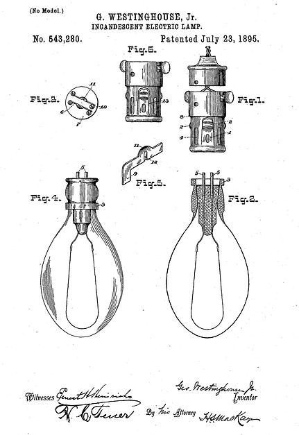 Патент на лампу US543280 A