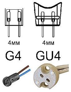 Патрон и цоколь G4 и GU4