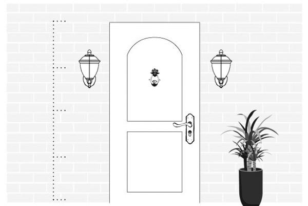 Светильники по сторонам входной двери