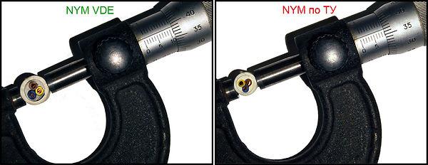 Замер наружного диаметра кабеля