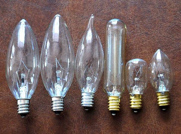 Виды ламп с цоколем E12 (США)