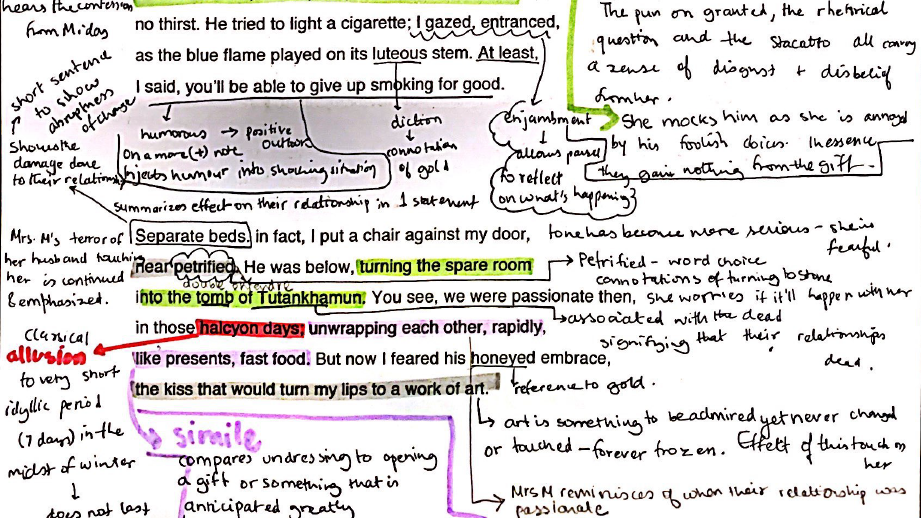 Duffy's Mrs. Midas: Fully Annotated