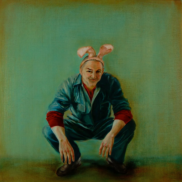 Chris wearing his rabbit ears. Oil on linen. 50 x 50 cm. 2009.