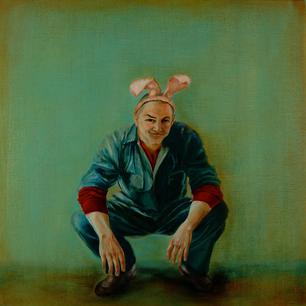 Chris wearing his rabbit ears. Oil on linen. 50 x 50 cm. 2009.