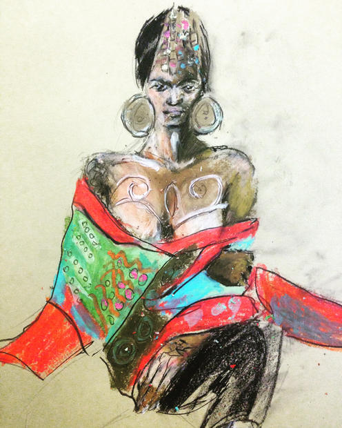 Moniasse wearing Diane Goldie kimono. Oil pastel on paper. A2. 2017.