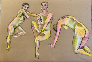 Studies of Emilie. Soft pastel on paper. A2. 2021.