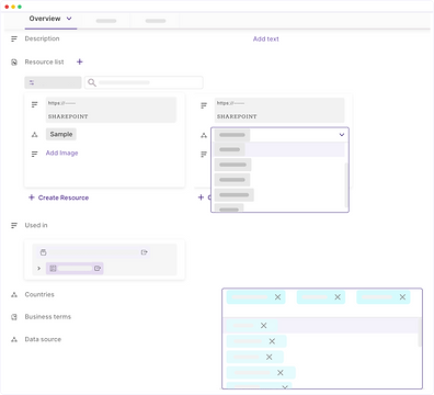 Data asset overview with choices from drop-down lists, external resource links, and initiatives usage records