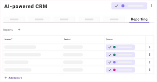 A list of available reports ordered by name and created under the AI-powered CRM use case