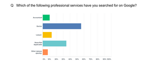 Chart showing which professional services 100 respondents have looked for on Google