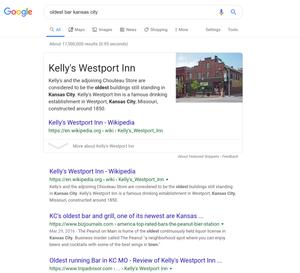 SERP showing Kelly's Westport Inn, the oldest bar in Kansas City