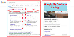 SERP showing comparison of organic search and google my business listing