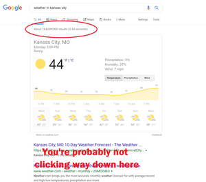a screenshot of a google serp showing where you will no longer click because of featured snippet