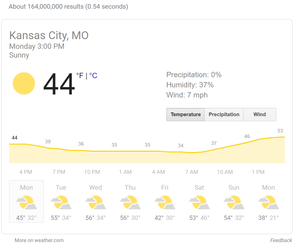 No-click search result showing featured snippet from Google for weather in KC