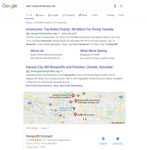 """SERP showing results for """"best nonprofit kansas city"""""""
