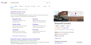 """SERP showing google result for """"nonprofit connect"""""""