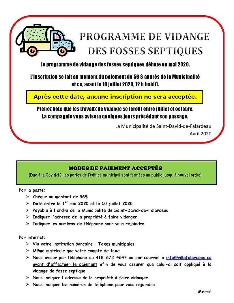 PROGRAMME DE VIDANGE DES FOSSES SEPTIQUE