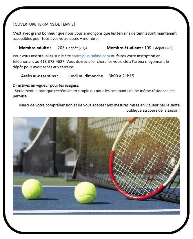 ANNONCE - OUVERTURE TERRAIN DE TENNIS (2