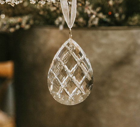 Crystal Ornament - Scored Almond