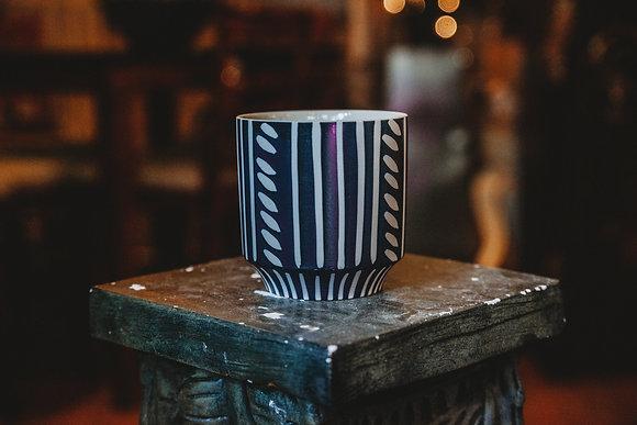 """Black & White Striped 4"""" Pot"""