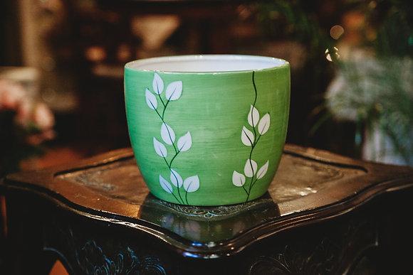 """7"""" Green & White Vine Pot"""