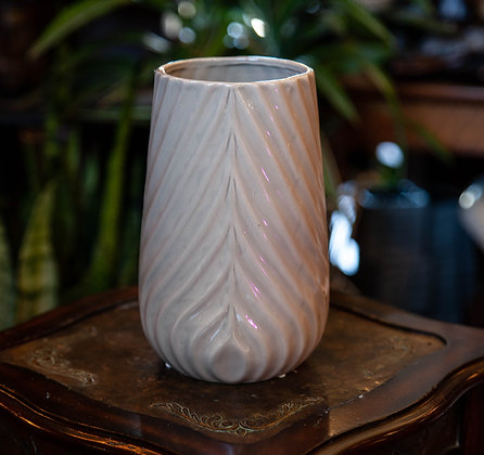 "5"" Taupe Feather Print Container - Tall"