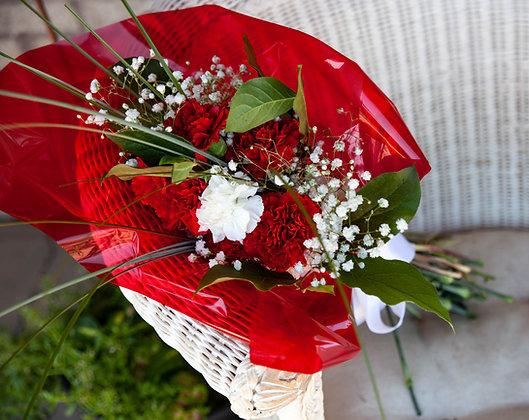 Memorial Site Wrapped Bouquet - Dozen Carnations