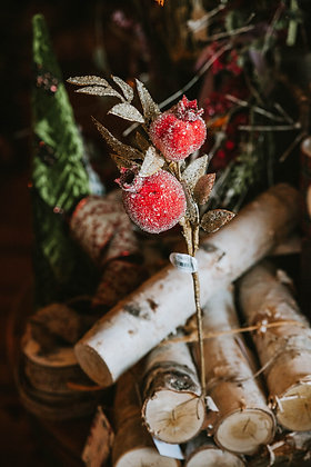 Frosted Berries & Gold Leaf Picks