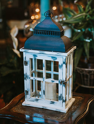 Distressed White Lantern Box