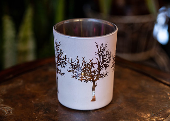 "4"" White & Gold Tree Print Container"