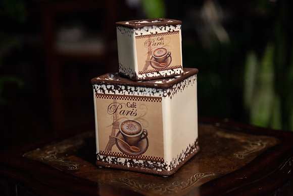 "4"" Ceramic Vintage Coffee Tins"
