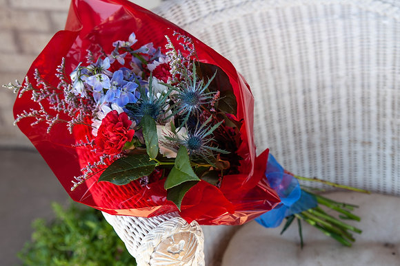 Memorial Site Wrapped Bouquet - Patriotic Mix