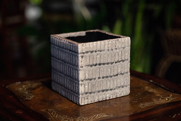 "5"" Gray Patterned Ceramic Cube"
