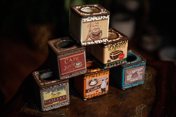 "2"" Ceramic Vintage Coffee Tins"