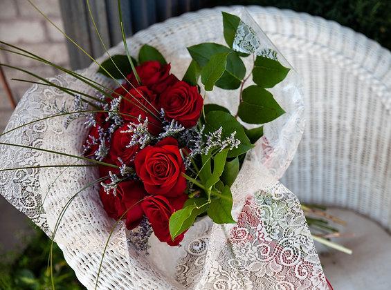 Memorial Site Wrapped Bouquet - Dozen Roses