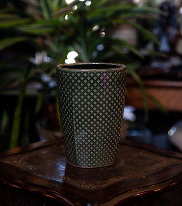 """6"""" Green Lattice Ceramic Container"""