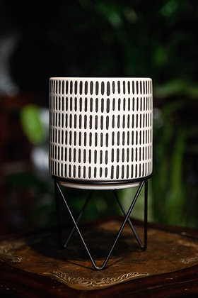 "6"" Raised Black & White Patterned Container"