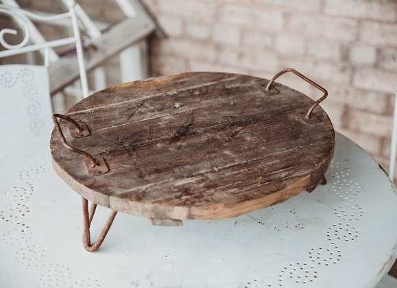 Distressed Round Wood Tray