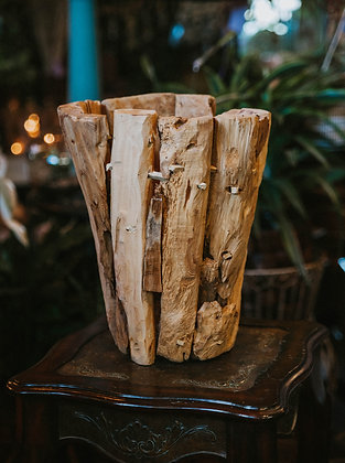 Natural Stripped Wood Planter