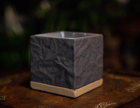 "4"" Dark Gray & Tan Cube"