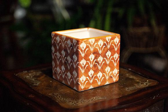 "5"" Orange Tulip Patterned Cube"