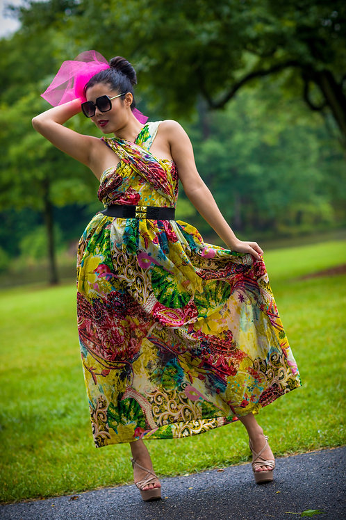 Chic Cross Neck Floral Dress