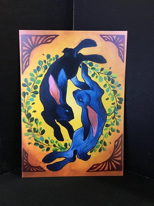 """YingYang Rabbit"" 5X7 Art Print"
