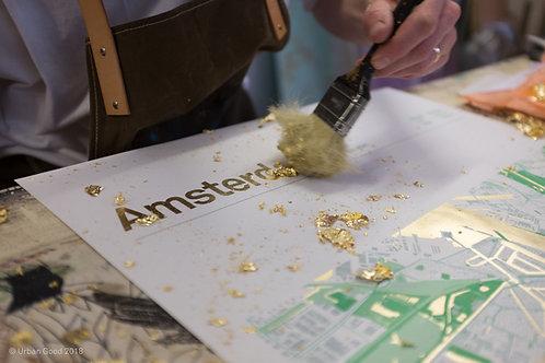 Gouden zeefdruk Amsterdamse binnenstad/ Amsterdam Gold leaf map